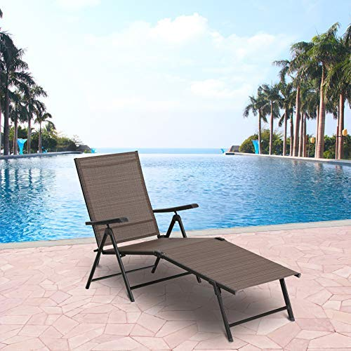 MF STUDIO PHI Villa 5 Stages Adjustable Metal Patio Folding Lounge Chair Outdoor Portable Recliner Chaise Chairs for Beach Yard Pool -1 Pack, Brown