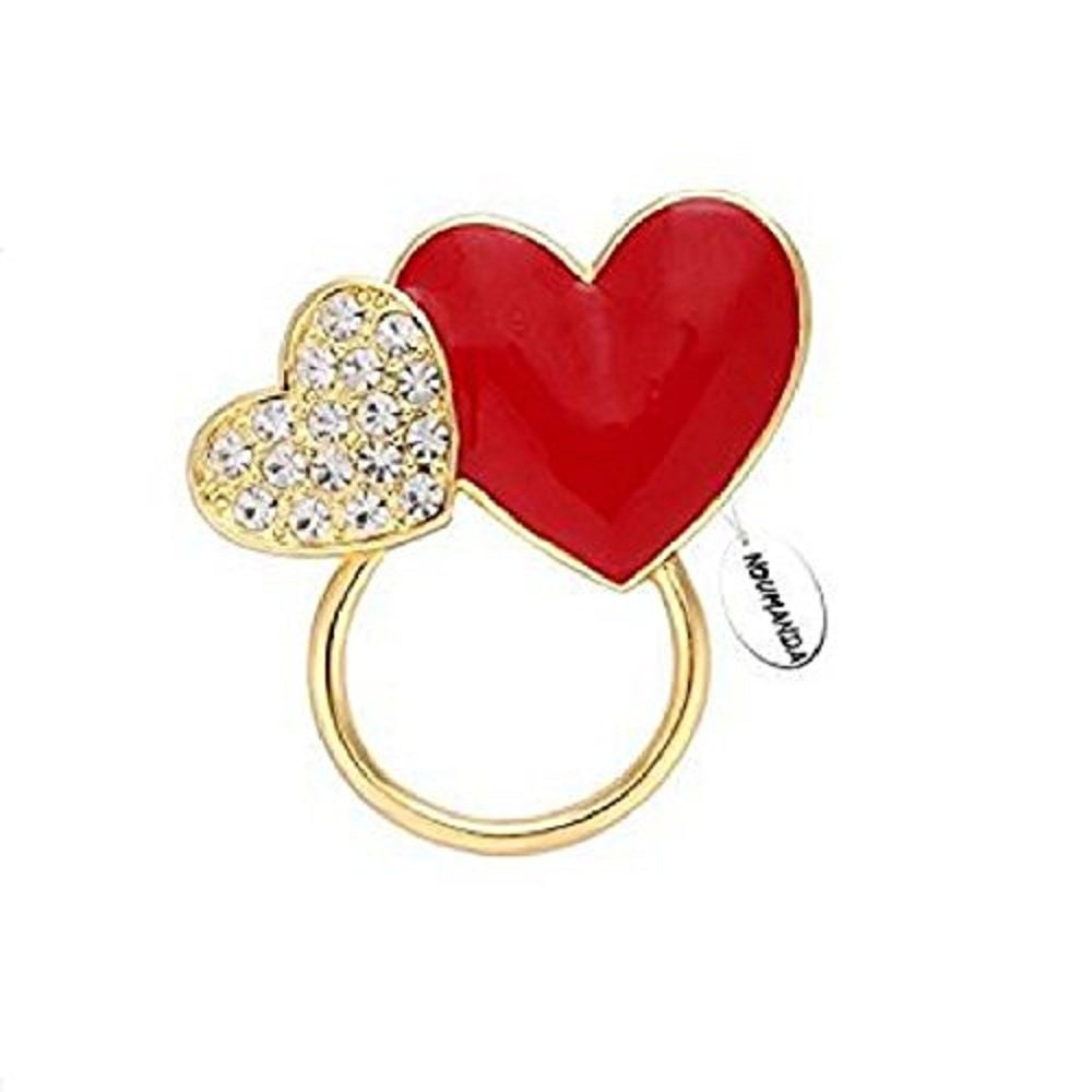 NOUMANDA Crystals Charm Heart-Shaped Eyeglasses Holder &Brooch Pin (Gold)