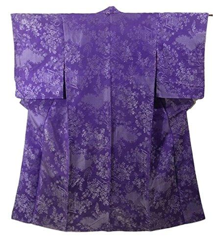 北西庭園年金アンティーク 着物 織り 正絹 袷 雲文に柴垣や草花 裄60.5cm 身丈144cm