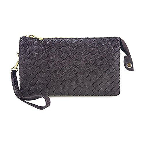 Included Leather Crossbody Body Women's Large Strap Bags Beaute Cross Woven with Bag Vegan Brown Wristlet YaxqZ7P