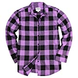 Urban Boundaries Women's Long Sleeve Flannel Shirt w/Point Collar (Purple/Black, Small)