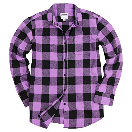 Shirts Flannel Women - Urban Boundaries Women's Long Sleeve Flannel Shirt w/Point Collar (Purple/Black, Medium)