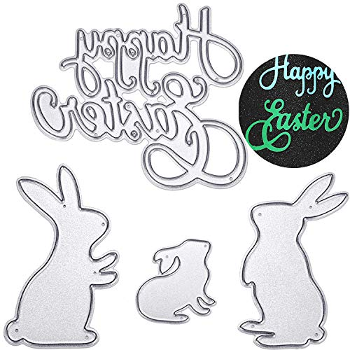 (TuoShei Eater Cutting Dies Happy Easter Letter and Bunny Rabbit Metal Stencil Template for DIY Scrapbook Album Paper Card Embossing, 4 Pieces Totally (Style 1))