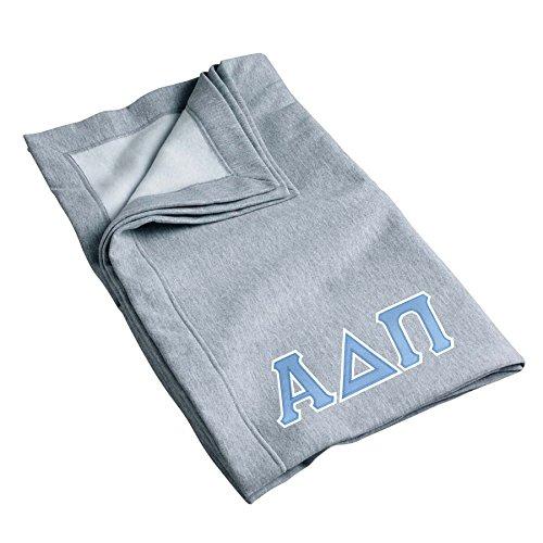 Alpha Delta Pi Sweatshirt Blanket with Twill Greek Letters (Grey)
