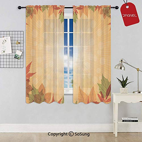 Striped Dotted Background and Vibrant Maple Aspen Oak Leaves Seasonal Nature Decorative Rod Pocket Sheer Voile Window Curtain Panels for Kids Room,Kitchen,Living Room & Bedroom,2 Panels,Each 42x72 Inc