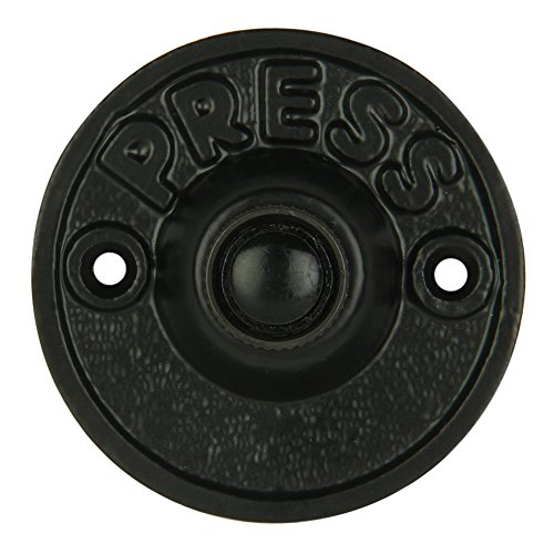 Wired Iron Circular Doorbell Chime Push Button in Black Powder Coat Finish Vintage Decorative Door Bell with Easy ()