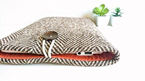 Weave Suiting (Brown Herringbone Laptop Sleeve MacBook Case Surface Book or Custom Size)