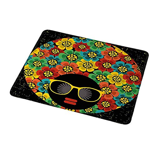 Gaming Mouse Pad 70s Party,Abstract Woman Portrait Hair Style with Colorful Flowers Sunglasses Lips Graphic,Gaming Non-Slip Rubber Large Mousepad 9.8
