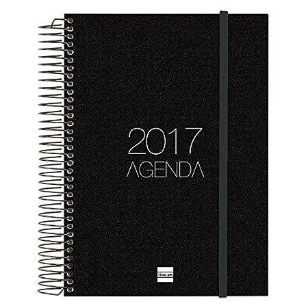 Finocam 742916017 - Agenda 2017, de espiral día página, goma elástica