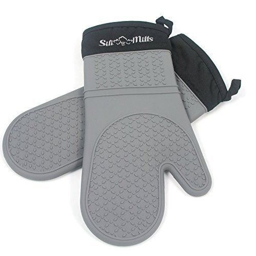 New! Grey Silicone Oven Mitts 1 Pair of Extra Long Heat Resistant Potholder (Gray Selector Series)