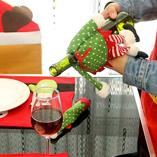 (Party Diy Decorations - Xmas Polka Dot Red Wine Bottle Cover Decor Bag Cloth Christmas Home El Party Dinner Table Decoration - Decorations Party Party Decorations Brooch Fabric Dinner Adhes)