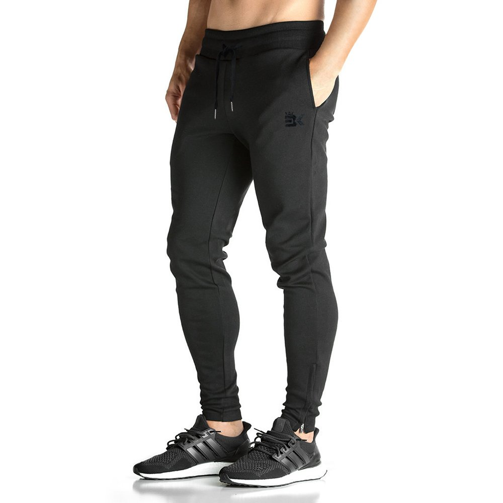 BROKIG Mens ZIP JOGGER Pants - Casual GYM Fitness Trousers Comfortable Tracksuit Slim Fit Bottoms Sweat Pants with Pockets (S, Black)