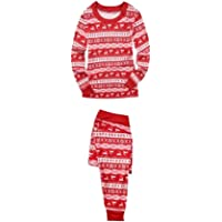 JEELINBORE Conjunto de Pijama de Manga Larga Camiseta Top + Pantalones Impreso Navidad Suave Familia Juego Pijamas