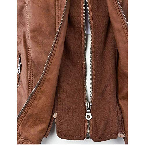 Fit Biker Moto Prodotto Lunga Donna Autunno Plus Jacket Pelle Giacca Slim Finta Costume Invernali Giubbotto Di Eleganti Cappotto Moda Manica Khaki Vintage Incappucciato wYRxw8UI