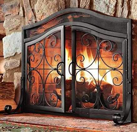 Large Fireplace Screen Gate-2 Panel Steel Beauty in Any Season-Maximum Coverage and Protection