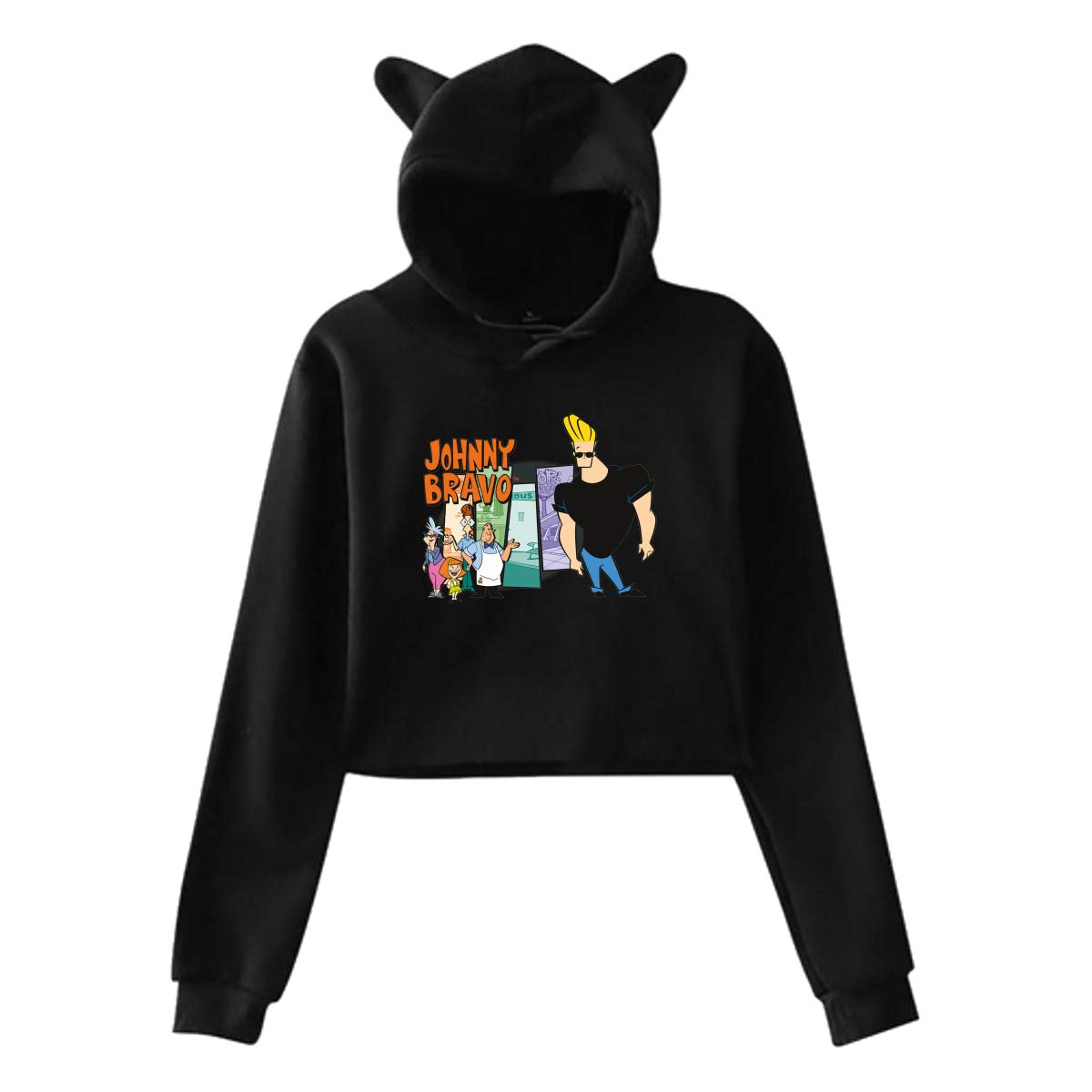 Womens Cat Ear Hoodie Sweater Jonny Handsome and Clumsy Bravo Lumbar Sweatshirt Hooded Black
