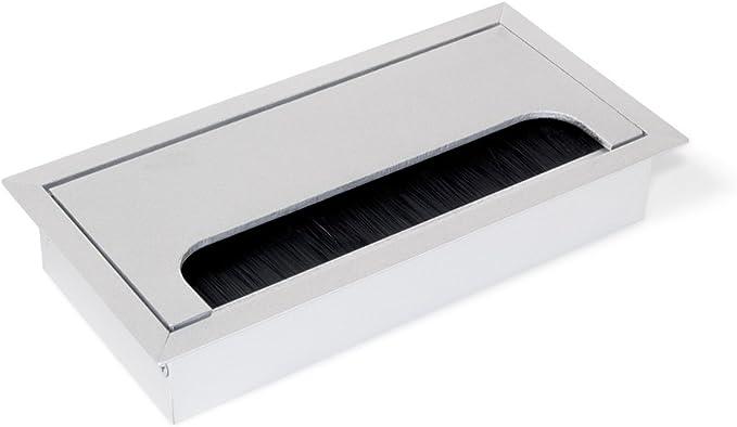 Emuca - Tapa pasacables rectangular para encastrar en escritorio ...