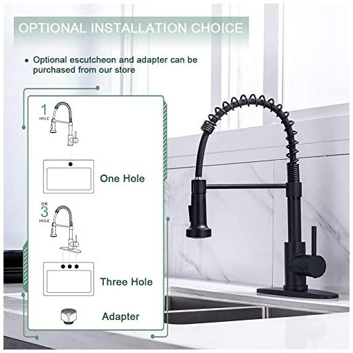 Farmhouse Kitchen Kitchen Faucet, Kitchen Faucets with Pull Down Sprayer WEWE Sus304 Stainless Steel Matte Black Industrial Single Handle… farmhouse sink faucets