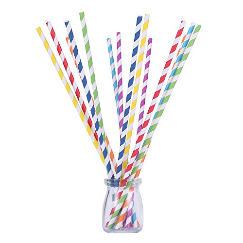 105 Long Paper Straws 12 inch Multicolor Rainbow Cotton Candy Sticks for Wedding Birthday Party Drinking Decoration Favor Supplies BPA Free Striped (12 inch) (Candy Birthday Supplies compare prices)