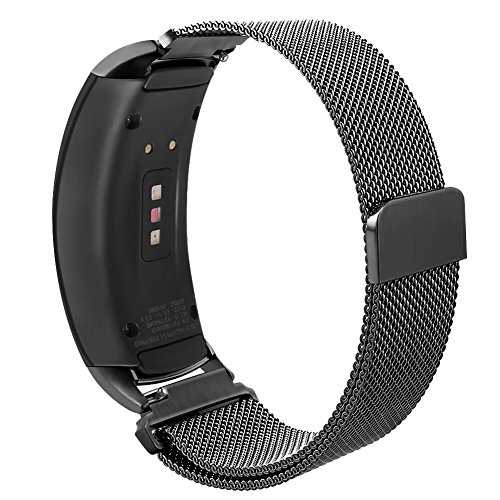 Compatible Gear Fit2 Pro/ Fit2 Band, OenFoto Metal Milanese Loop Stainless Steel Replacement Accessories Strap Magnet Lock Samsung Gear Fit 2 Pro SM-R365/SM-R360 Smartwatch -Milanese Black