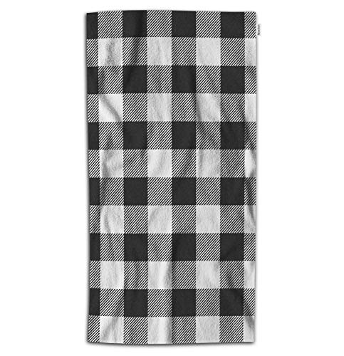 Moslion Plaid Bath Towel Vintage White Black Gingham Checkered Tartan Buffalo Check Towel Soft Microfiber Baby Hand Beach Towel for Kids Bathroom 32x64 Inch (Black Bath Sheets)