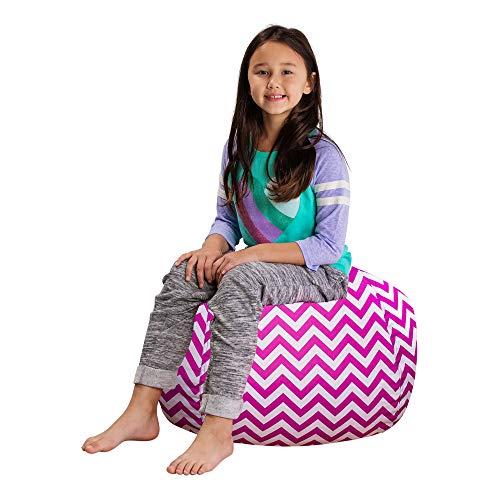 "Posh Stuffable Kids Stuffed Animal Storage Bean Bag Chair Cover - Childrens Toy Organizer, Medium 27"" - Pattern Chevron Purple and White"