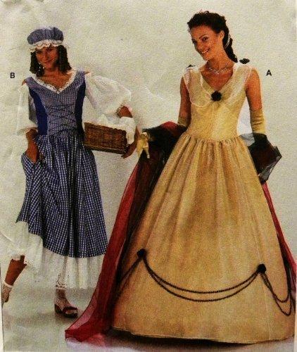 Burda 2479 Adult Historical Princess Costumes Sewing Pattern Renaissaince Washer Woman, High Society Size 10 to -