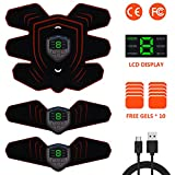 ABS Trainer EMS Muscle Stimulator with LCD Display - USB Rechargeable Ultimate Abdominal Stimulator...
