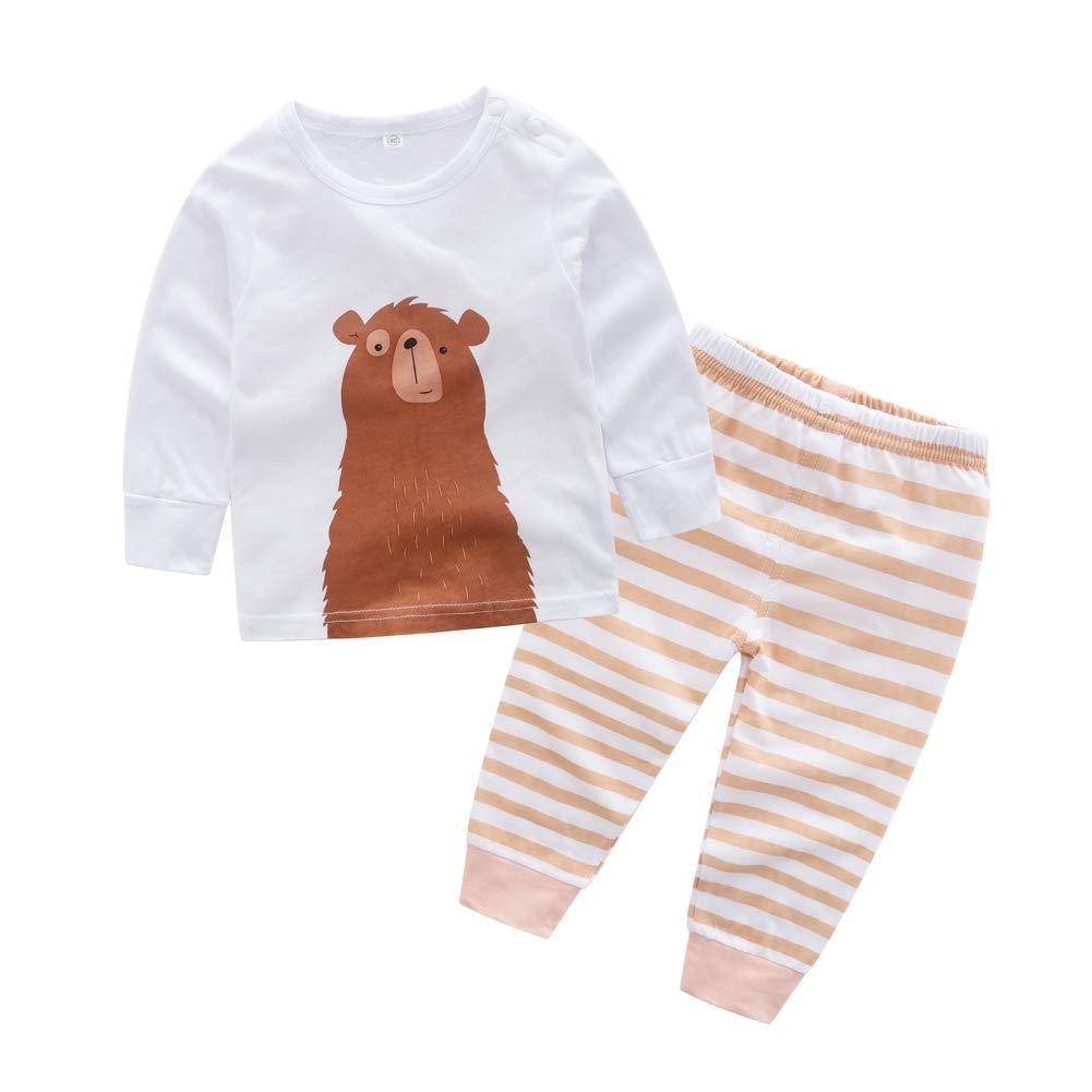 BOBORA Baby Boys Long Sleeve Cartoon Animal T-Shirt Tops with Striped Bottoms Pants Set 2PCs Sleepwear Pyjamas BO-UK1093