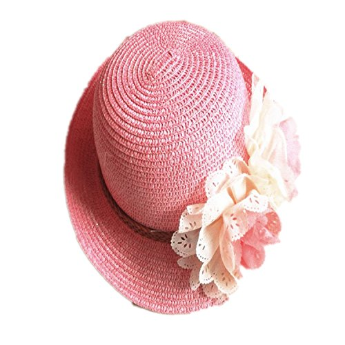 Rejected all traditions Lightweight Pink Floppy Two Flowers Straw Beach Sun Hat Cap for Kids Girls