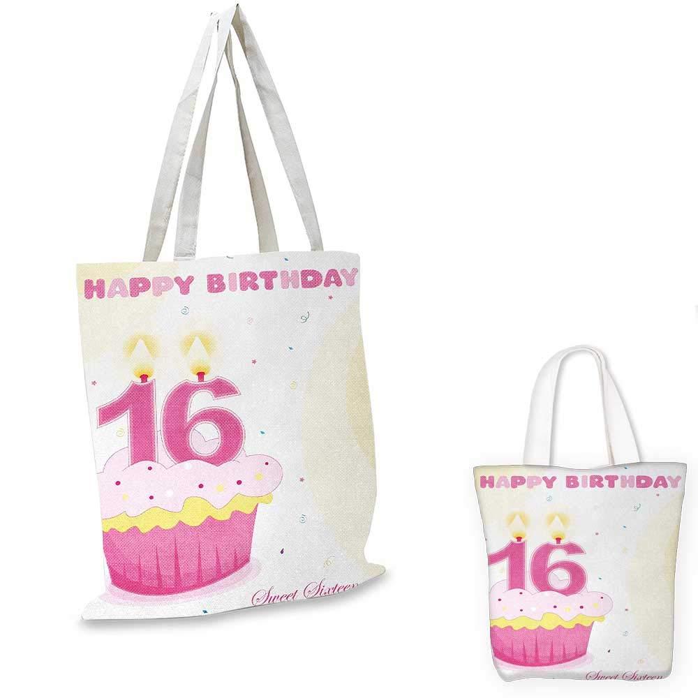 16歳の誕生日 美味しいカップケーキ キャンドル ティーンガールズスタイル スイートサプライズ イラスト フクシャイエロー 12