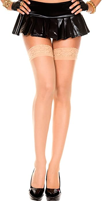 b2249b29d2e Amazon.com  Music Legs Sheer Thigh High with Lace Trim Beige One ...