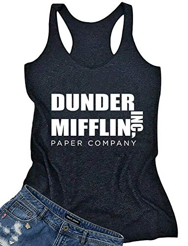 Dunder Mifflin Inc Paper Company Tank Tops for Women Summer Funny Vintage Workout Racerback Tanks Sleeveless T-Shirt (Small, -