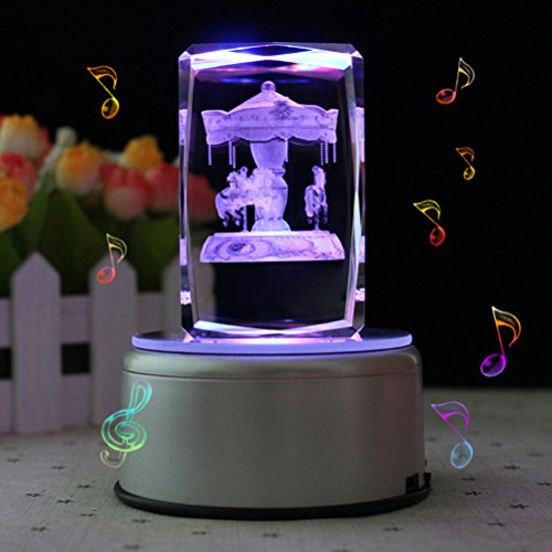 LIWUYOU Personalized Custom Text Rectangle Crystal 3D Carousel Horse Colorful LED Rotating Musical Box, Carousel, Music Base