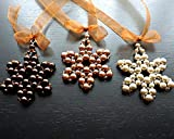 Set of 3 Color Pearl Beaded Snowflake Ornaments Swarovski Crystal Star Tree Decoration Christmas Gift Idea Holiday Decor Wire Wrapped Champaign Honey Copper Brown Handmade and Crafted by KapKaDesign