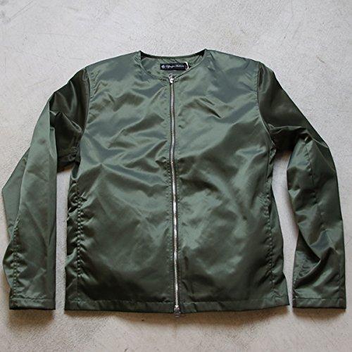 (アップスケープオーディエンス)Upscape Audience ヴィンテージナイロンツイル ノーカラーJacket[AUD2721] B01LNLXS4Y XL|Military Green Military Green XL