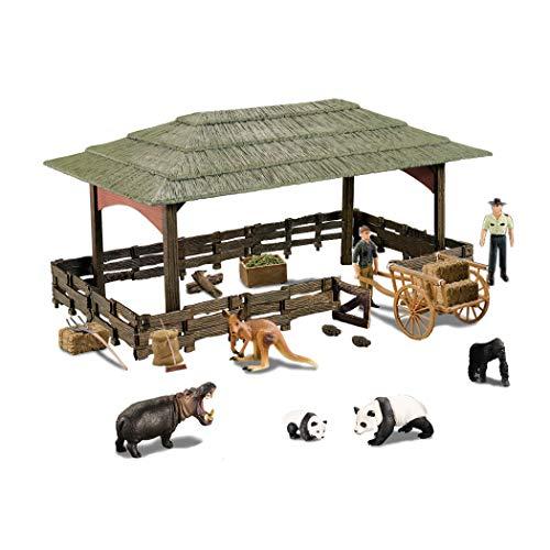 知育おもちゃ 野生動物セット 動物ガレージキット キャラクターモデル1セットのハウス パンダ、カバ 子供誕生日プレゼント