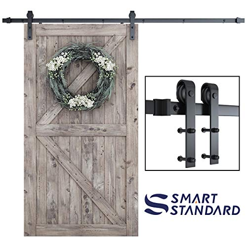 SmartStandard 8FT One-Piece Track Sliding Barn Door Hardware Kit - Smoothly and Quietly - Simple and Easy to Install - Includes Step-By-Step Installation Instruction -Fit 42- 48 Door Panel (J shape)