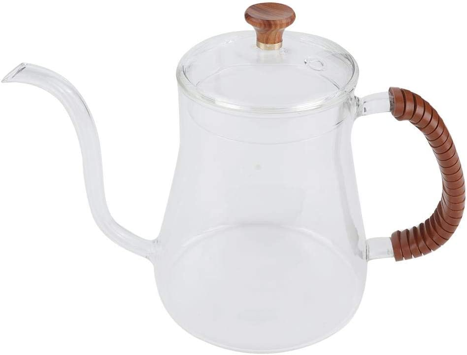 Jeffergarden GlassTeapot Thickened Glass Gooseneck Kettle Tea Stovetop Save Pour Over Kettle Coffee Removable Infuser Dripper 600ML