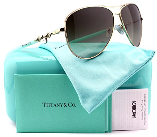 Tiffany & Co. TF3034 Aviator Sunglasses Silver w/Green Gradient (6021/3M) TF 3034 60213M 60mm - Sunglasses Tiffany