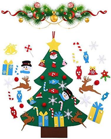 Viilich – Albero di Natale in feltro, albero di Natale per bambini da parete, fai da te con 33 decorazioni staccabili, da appendere alla porta, regalo di Natale per decorazioni natalizie