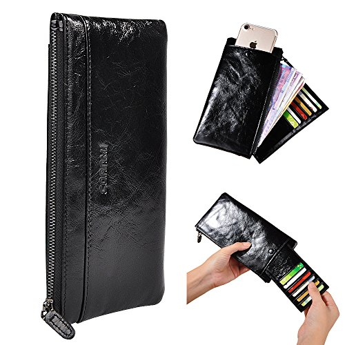 CORNMI Handmade Dip Dye Leather Long Card Organizer Wallet with Removable Card Holder ,Universal Leather Case for iPhone ,Samsung (Black)