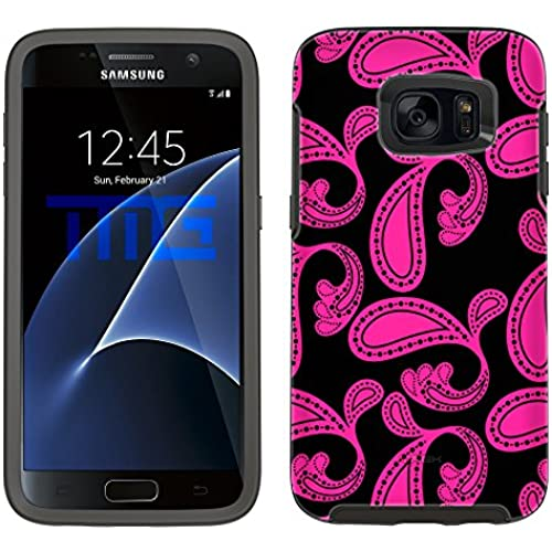 Skin Decal for Otterbox Symmetry Samsung Galaxy S7 Edge Case - Paisleys Bold Pink on Black Sales