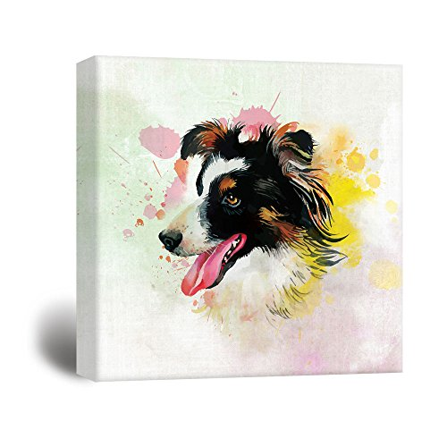 wall26 Square Dog Series Canvas Wall Art - A Border Collie Painting with Color Splash Background - Giclee Print Gallery Wrap Modern Home Decor Ready to Hang - 16x16 inches