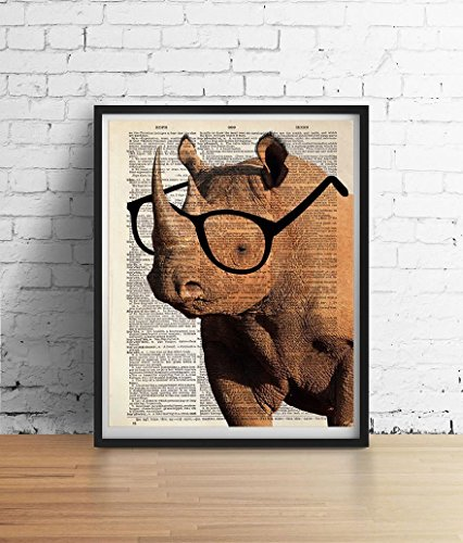Smart RHINO Wearing Glasses Print, African Safari Animals Illustration, Dictionary Art Book Page Poster, Wall Art Home Decor High Quality ARCHIVAL ()