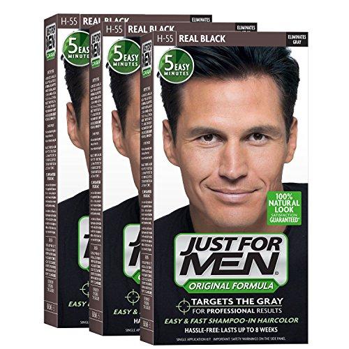 Just For Men Original Formula Men's Hair Color, Real Black (Pack of 3)
