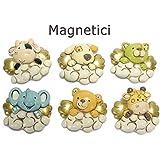 12 Animaletti per bomboniera, su nuvola magnetici in resina con calamita