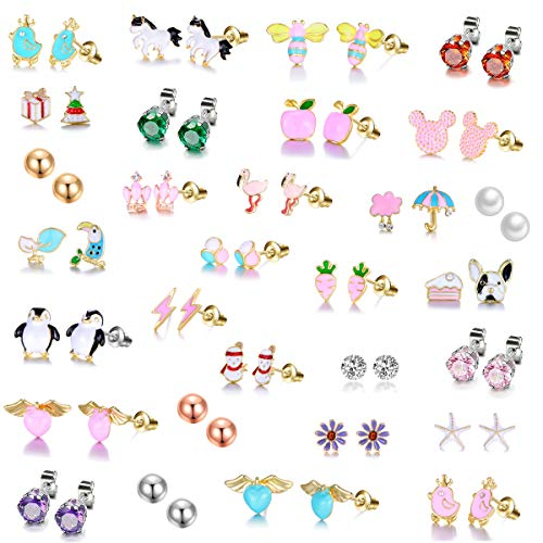 30 Pairs Gold Plated Stainless Steel Post Small Cute Multiple Animal Flower Faux Pearl CZ Stud Earrings Set for Girls Kids New Year Christmas Gift