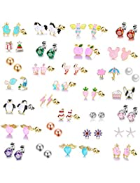 26 Pairs Gold Plated Stainless Steel Post Small Cute Multiple Animal Faux Pearl Stud Earrings Set for Girls Kids...