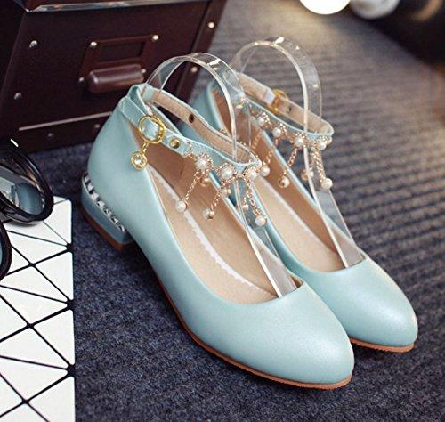 Easemax Donna Strass Dolce Basso Tacco Grosso Cinturino Alla Caviglia Con Cinturino Alla Caviglia Scarpe Con Ciondoli Blu
